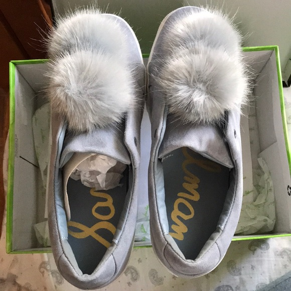 5305f204006738 Sam Edelman Leya Light Blue Suede Pom Pom Sneakers
